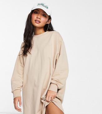 ASOS DESIGN Petite oversized smock back sweat dress in camel