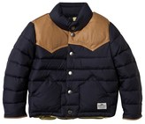 Penfield Navy Pelam Tan Leather Yoke Down Jacket