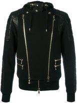 Balmain biker zip-up hoodie - men - Cotton/Lamb Skin - XL