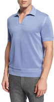 Tom Ford Textured Johnny Collar Short Sleeve Shirt, Light Blue
