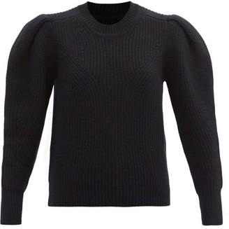 Isabel Marant Robin Pleated-sleeve Ribbed Merino-blend Sweater - Black