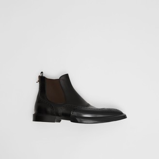 Burberry Toe Cap Detail Leather Chelsea Boots