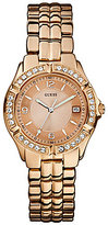 GUESS Rose Gold-Tone Stainless Steel and Crystal 3 Hand Bracelet Watch