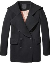 Scotch & Soda Embroidered Wool Peacoat