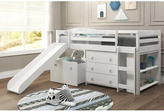 Harriet Bee Renley Complete Twin Low Loft Bed with Drawer and Bookcase Harriet Bee Bed Frame Color: White