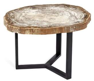 Interlude Isla Grand Petrified Wood End Table