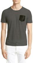 The Kooples Stripe Leather Pocket Linen Tee