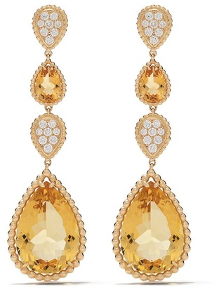 Boucheron 18kt yellow gold Serpent Boheme citrine and diamond S motif pendant earrings