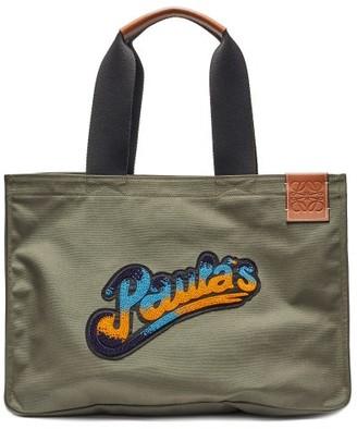 Loewe Paula's Ibiza - Large Bead-embellished Canvas Tote Bag - Khaki