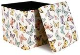 Lush Decor Pink Flutter Butterfly Storage Bench