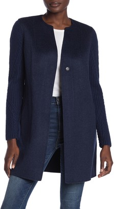 Kinross Cable Knit Sleeve Wool Coat