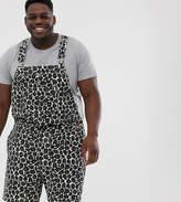 Asos Design DESIGN Plus slim short overalls in leopard print