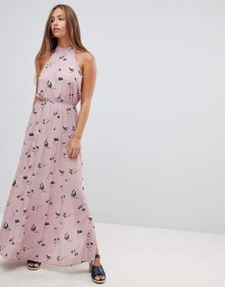Gilli high neck sleeveless floral maxi dress-Purple