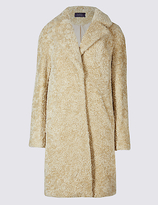 M&S Collection Textured Faux Fur Coat