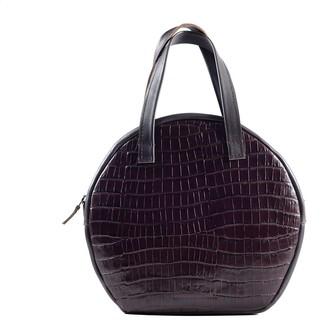 Kartu Studio Natural Leather Handbag Bergamot Dark Brown Reptile Print