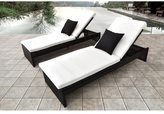Solis Plenus 2 Piece Brown Rattan Chaise Lounge Chair with Cushion