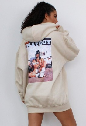 Missguided Playboy X Stone Text Graphic Back Hoodie Dress