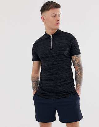 Asos Design DESIGN polo shirt with zip neck in interest fabric-Black