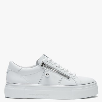 Kennel + Schmenger Parry White Leather Double Zip Ribbon Lace Trainers