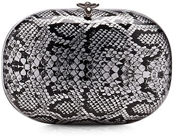Thumbnail for your product : JEFFREY LEVINSON Elina Metallic Snakeskin-Embossed Clutch