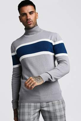 boohoo Colour Block Roll Neck Knitted Jumper