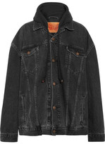 Vetements Levi's Oversized Hooded Denim And Cotton-jersey Jacket - Charcoal