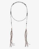 White House Black Market Beaded Leather Double-Tassel Lariat Necklace