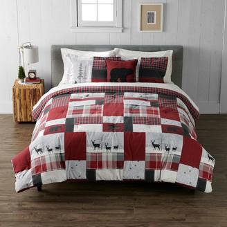 Cuddl Duds Lodge Patchwork Heavyweight Flannel Comforter Set