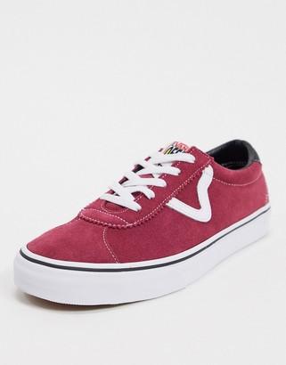 Vans Sport suede sneakers in beetroot red & true white