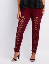 Charlotte Russe Plus Size Lace-Up Ponte Knit Leggings