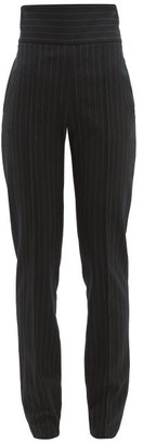 Alexandre Vauthier High Waist Pinstripe Wool Blend Trousers - Womens - Black Multi