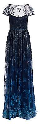 Marchesa Women's Illusion Embroidered Floor-Length Gown