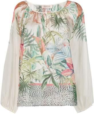 Black Coral jungle print blouse