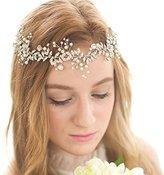 FAYBOX Handmade Crystal Rhinestones Wedding Head Band Bridal Hair Accessorie Headpieces Silver-tone