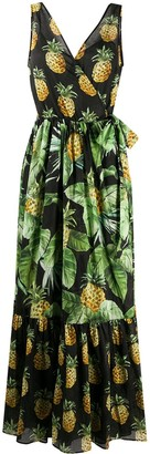Twin-Set Pineapple Print Flared Dress