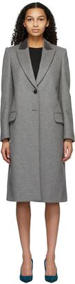 Alexander McQueen Grey Wool Velvet Collar Coat