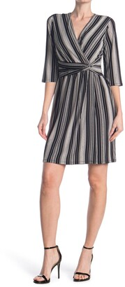 London Times Twist Front Stripe Dress