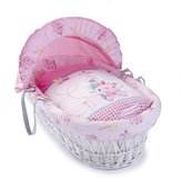 BabyCentre Clair de Lune Lottie and Squeek White Wicker Moses Basket
