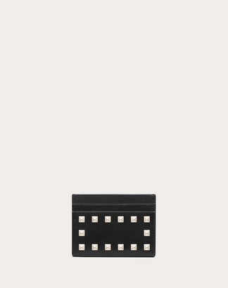 Valentino Rockstud Calfskin Cardholder Women Black Calfskin 100% OneSize