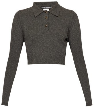 Dolce & Gabbana Cropped Cashmere Polo Shirt - Dark Grey