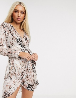 Lipsy animal print wrap dress