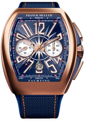 Franck Muller Vanguard Yachting Rose Gold, Alligator & Rubber Strap Chronograph Watch