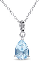 Julianna B 2 2/9 CT TW Topaz Sterling Silver Teardrop Enhancer Pendant Necklace