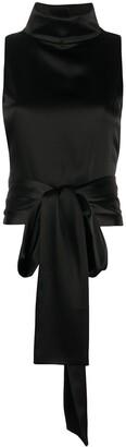 Galvan Luna sash-waist satin blouse
