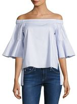 Prose & Poetry Shane Striped Off-The-Shoulder Bell Sleeves Cotton Top