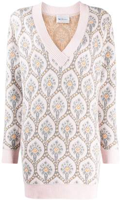 Blumarine be be oversized embroidered jumper 8320 01301 ROSA/ARGENTO Natural (Vegetable)->Cotton