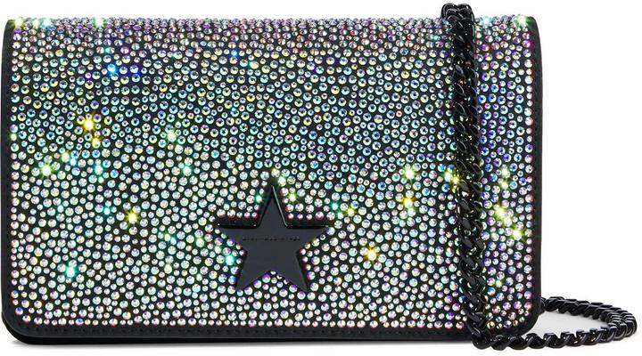 Stella McCartney Stella Star Mini Crystal-embellished Faux Suede And Velvet Shoulder Bag