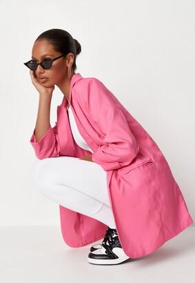 Missguided Pink Co Ord Basic Boyfriend Blazer