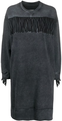 MM6 MAISON MARGIELA Acid-Wash Fringed Sweatshirt Dress