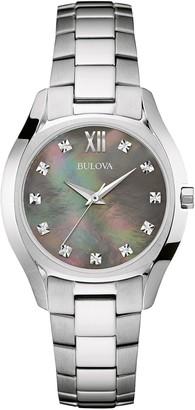 Bulova Women's Diamond Accented & Gray Mother of Pearl Analog Quartz Bracelet Watch, 32mm - 0.03 ctw
